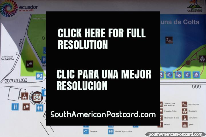 Map of Colta Lagoon, to the south of Riobamba. (720x480px). Ecuador, South America.