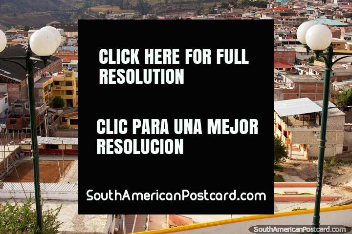The main street in Alausi and the park - Parque Eloy Alfaro. (720x480px). Ecuador, South America.