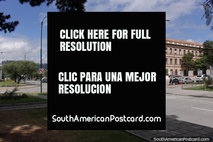 Benigno Malo College in Cuenca, a very prestigious building with red domed roof. (720x480px). Ecuador, South America.