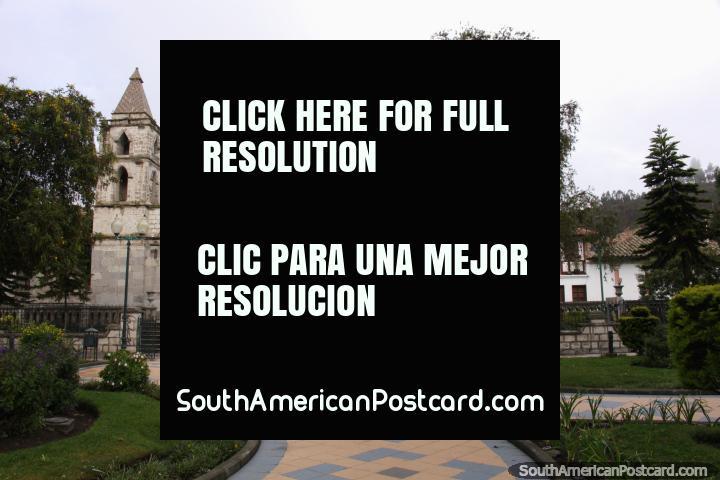 The stone church beside the plaza in Pujili. (720x480px). Ecuador, South America.