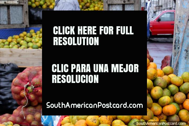 Um caminhão transborda com laranjas que esvaziam as costas no mercado de Saquisili. (720x480px). Equador, América do Sul.
