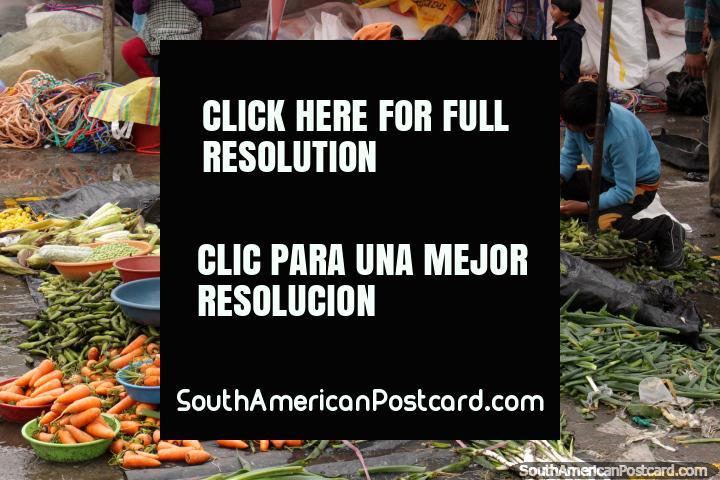 Crunchy carrots and people peeling peas at Saquisili market. (720x480px). Ecuador, South America.