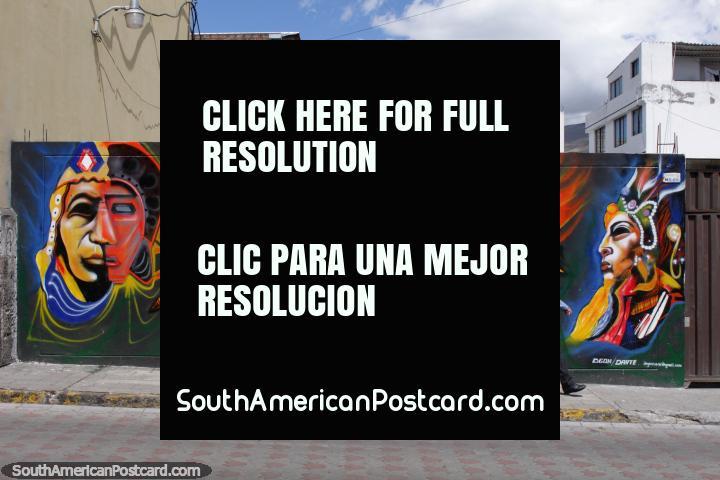 Mural of Inca chiefs in bright colors in Machachi. (720x480px). Ecuador, South America.