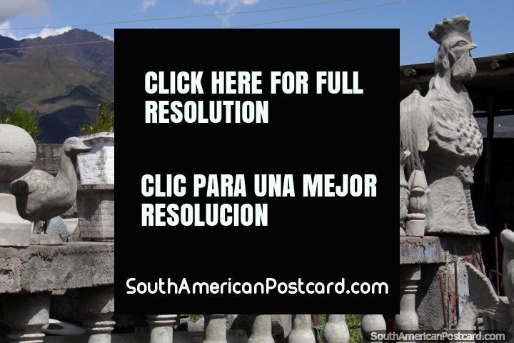 Chickens, flamingos and ducks, works of stone, Machachi. (720x480px). Ecuador, South America.