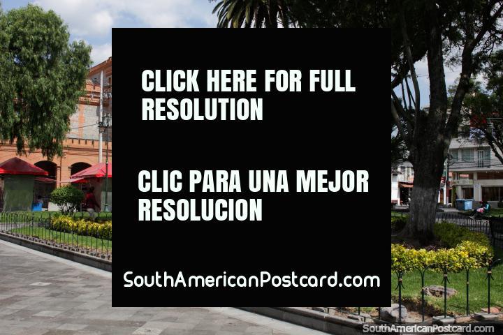 Pedro Moncayo Park in Ibarra and the cultural center - Centro Cultural El Cuartel. (720x480px). Ecuador, South America.