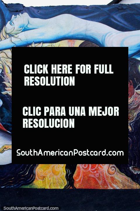Exotic female dancers celebrate, street art in Ibarra. (480x720px). Ecuador, South America.