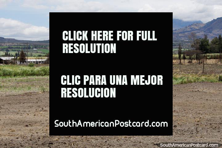 Tierras de cultivo y pastos hasta las colinas a lo largo de la Ruta 10 a San Lorenzo. (720x480px). Ecuador, Sudamerica.