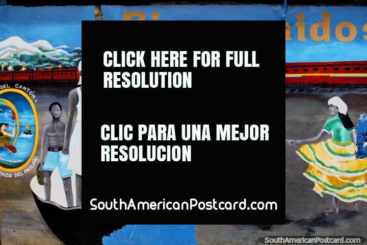 Mural de boas-vindas em San Lorenzo que apresenta cultura local e pessoas. (720x480px). Equador, América do Sul.