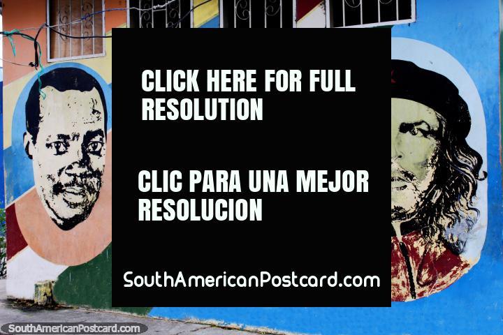 Che Guevara on the right, street art in Esmeraldas. (720x480px). Ecuador, South America.