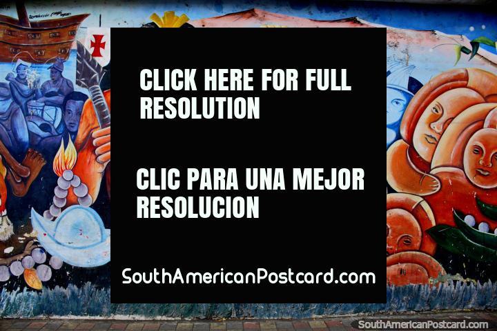 Scene with indigenous warriors, street art in Esmeraldas. (720x480px). Ecuador, South America.