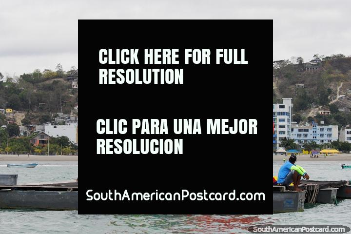 Platform for parasailing in Atacames, only $10USD per person for a ride. (720x480px). Ecuador, South America.