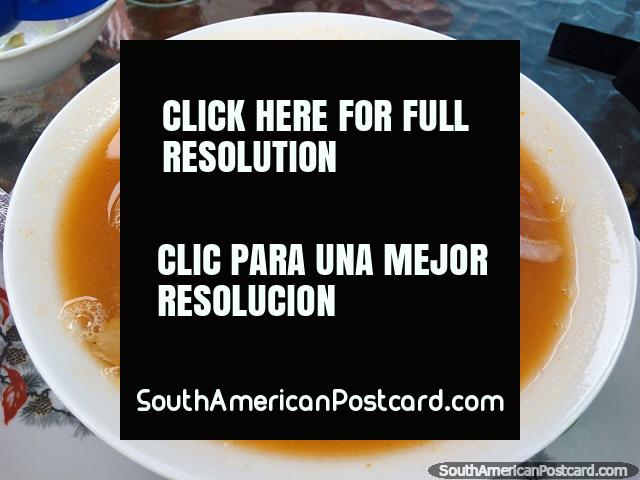 Typical soup in Ecuador on the coast, you eat with dried banana chips, Atacames. (640x480px). Ecuador, South America.