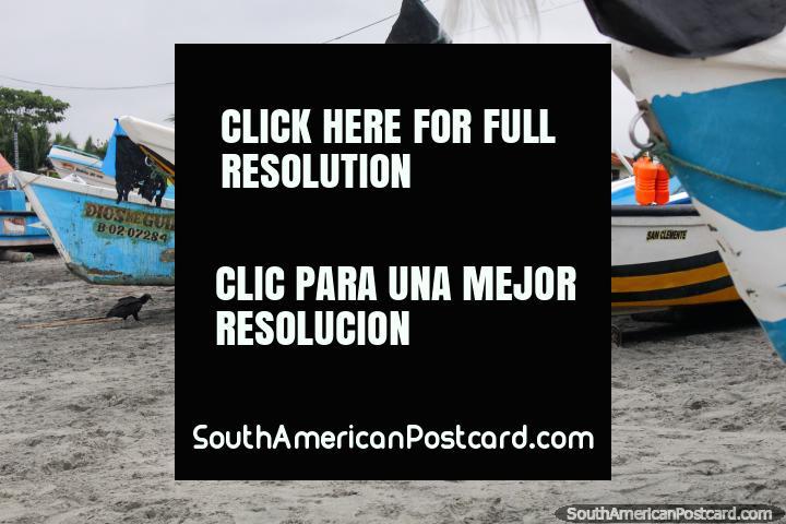 Barcos na praia na pequena cidade de praia de Mompiche. (720x480px). Equador, América do Sul.