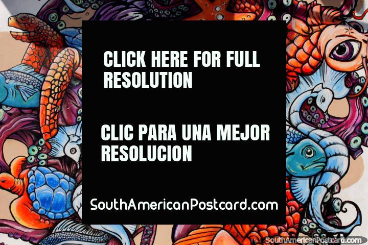 Vida do mar de simbolização de mural com um octópode, seahorse, tartaruga marïtima, estrela-do-mar e sereia em El Matal. (720x480px). Equador, América do Sul.