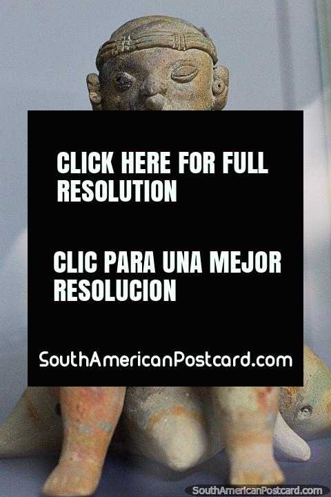 Antique ceramic works found on the coast in Manabi state, displayed at Jama Museum. (480x720px). Ecuador, South America.