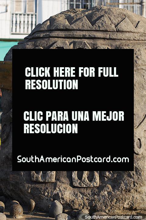 Ritual petroglyph, dance, cultural and ancestral heritage in Jama. (480x720px). Ecuador, South America.