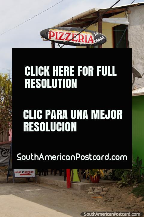 La Canoa Pizza Restaurant in Canoa, a popular and laid-back beach town. (480x720px). Ecuador, South America.