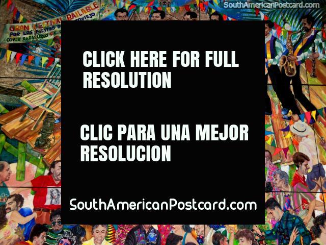 Gran Festival Bailable con la Banda Pedro Pablo, gran mural en el centro comercial Portoviejo. (640x480px). Ecuador, Sudamerica.