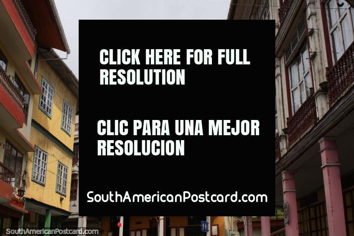 Antique wooden buildings on the main street in Zaruma. (720x480px). Ecuador, South America.
