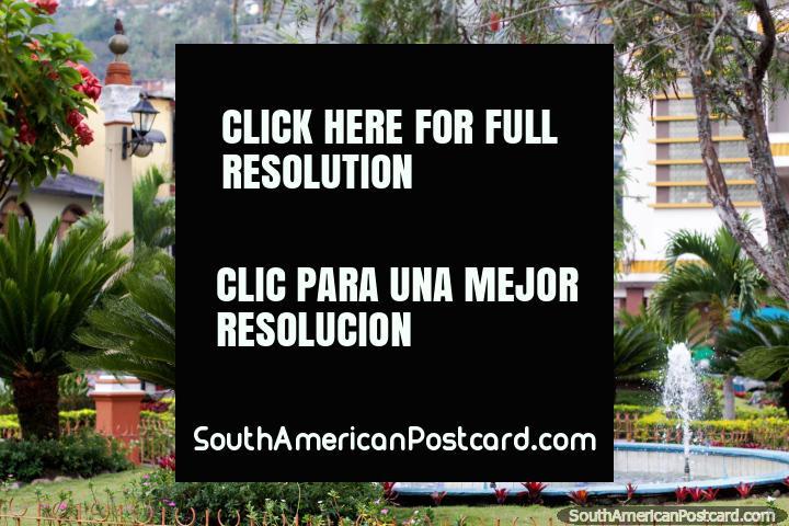 Fonte, palmeiras e jardins em Praça da Independência em Zaruma. (720x480px). Equador, América do Sul.