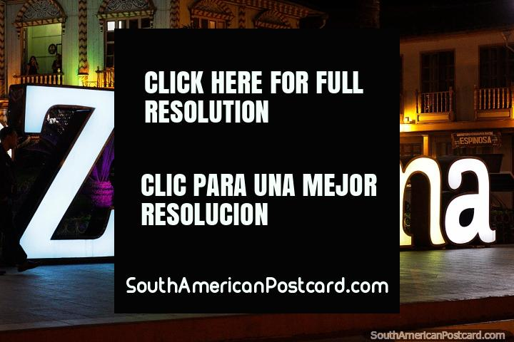 Every city in Ecuador has a big name sign, we are in Zaruma. (720x480px). Ecuador, South America.