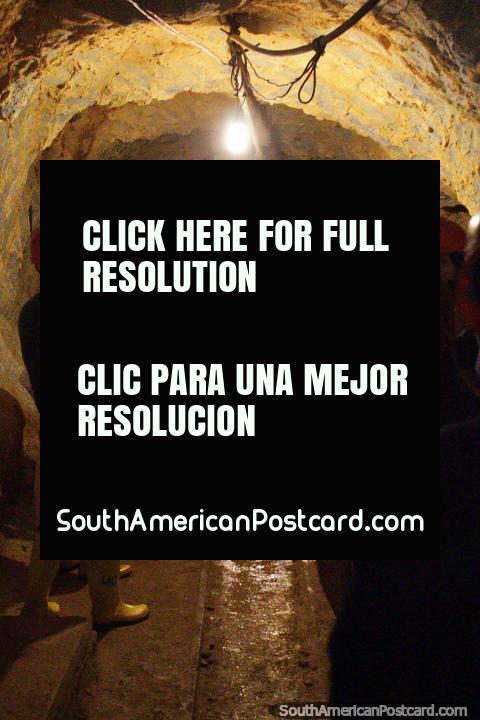Inside the tunnels at El Sexmo gold mine in Zaruma. (480x720px). Ecuador, South America.