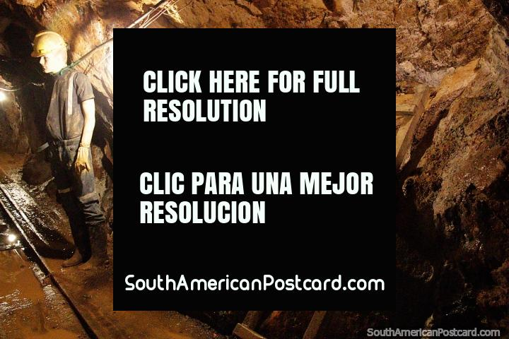Mannequin man, a miner inside the tunnels, tour of Zaruma gold mine. (720x480px). Ecuador, South America.