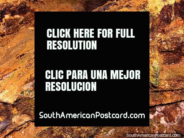 Rock walls at El Sexmo gold mine with green crystal sparkling, Zaruma. (640x480px). Ecuador, South America.