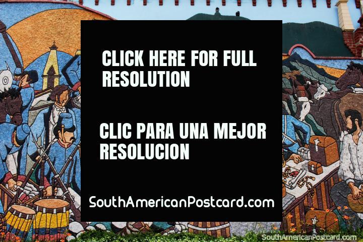 Battle scene with Simon Bolivar on horseback, the liberation, mural in Loja. (720x480px). Ecuador, South America.