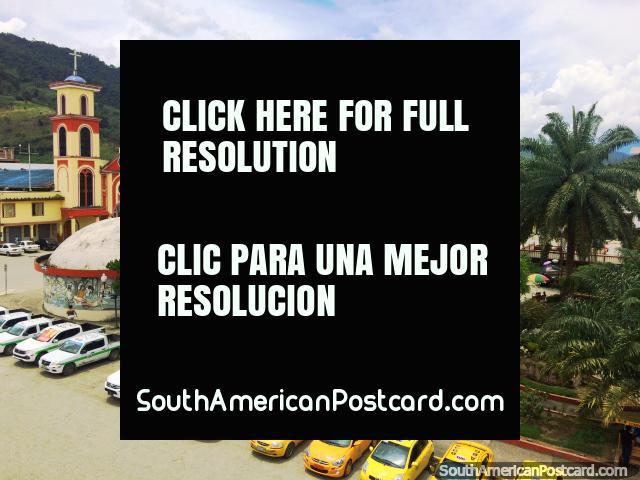 Central park and church in the jungle town of Yantzaza. (640x480px). Ecuador, South America.