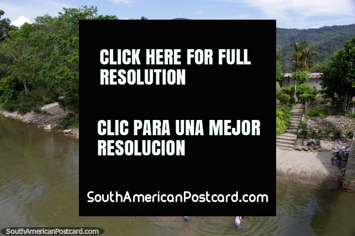 Rica Beach with lush green surroundings across the river in Yantzaza. (720x480px). Ecuador, South America.