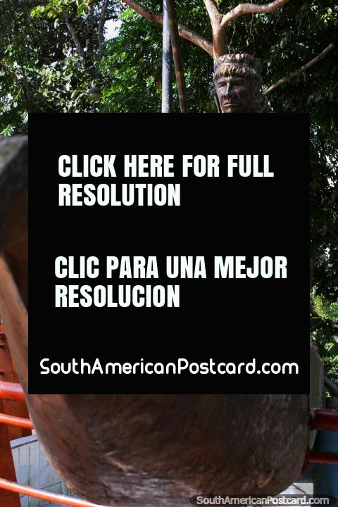 Martin Ayuy, an indigenous leader, bronze sculpture at Mirador Park in Yantzaza. (480x720px). Ecuador, South America.