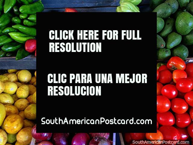 Tree tomato, red onion, maracuya, green peppers, avocado, Sunday market in Gualaquiza. (640x480px). Ecuador, South America.