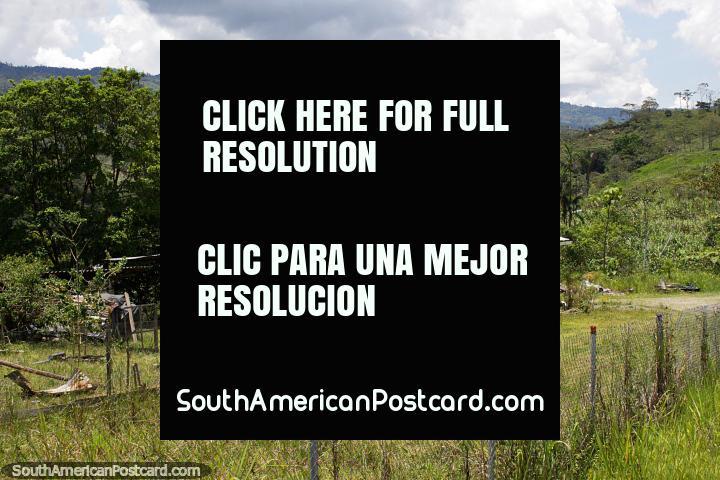 Païs que vive no Equador, casa de madeira em volta de San Juan Bosco, ao sul de Limon. (720x480px). Equador, América do Sul.