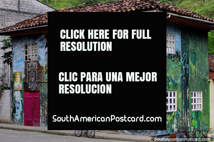 A loja de madeira e a casa pintaram com imagens de natureza e cultura em Limon. (720x480px). Equador, América do Sul.