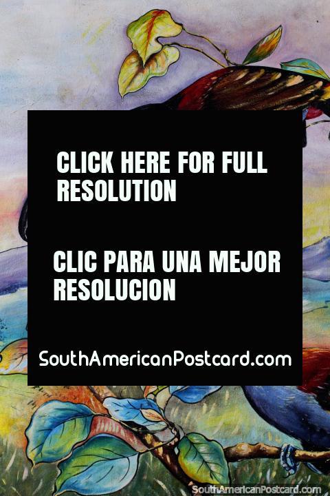 Pareja de tucanes exóticos, aves en la naturaleza, mural en Limón. (480x720px). Ecuador, Sudamerica.