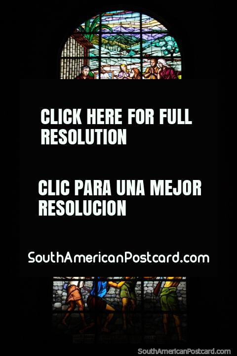 Beautiful large stained glass window at the church in Macas. (480x720px). Ecuador, South America.