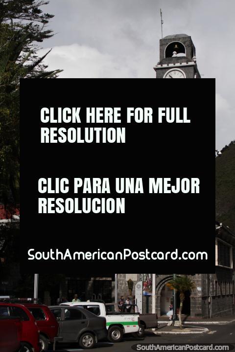 Beautiful clock tower beside Palomino Flores Park in Banos. (480x720px). Ecuador, South America.