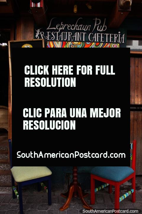 Leprechaun Pub Restaurant and Cafe in Banos, check out the menu. (480x720px). Ecuador, South America.