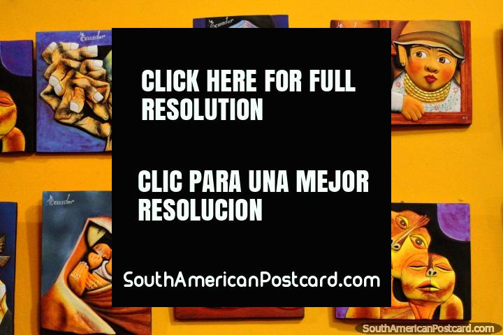 Impressões de arte que representam cultura equatoriana e sobrenaturalidade, para venda em Banos. (720x480px). Equador, América do Sul.