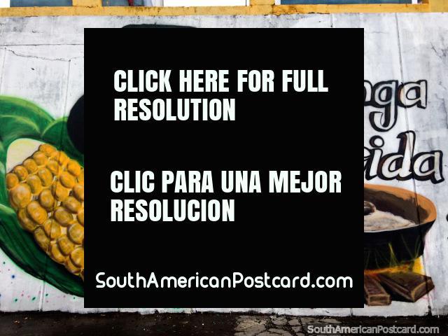 Come my life (venga mi vida), a poor farmers food, soup and corn, street art in Latacunga. (640x480px). Ecuador, South America.