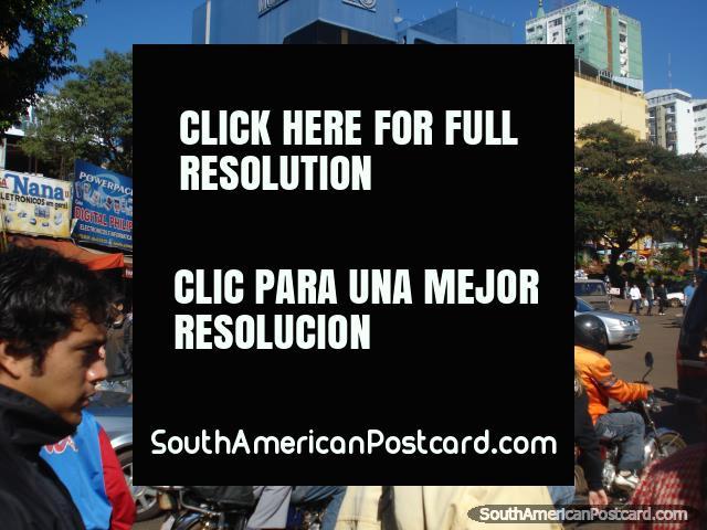 Ciudad del Este, motorbikes and people. (640x480px). Paraguay, South America.