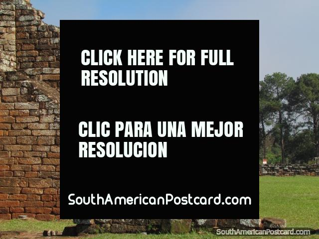 Spectacular stone walls at the Jesuit ruins of Trinidad near Encarnacion. (640x480px). Paraguay, South America.