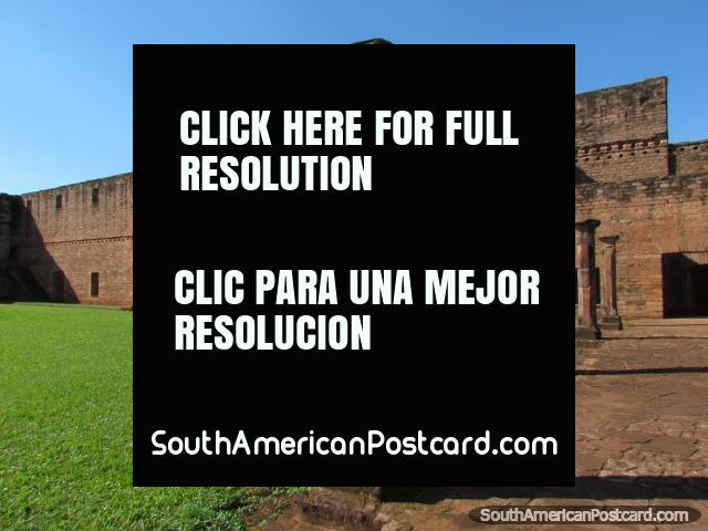 Columns and the great church wall at the Jesuit ruins at Jesus of Tavarangue. (640x480px). Paraguay, South America.