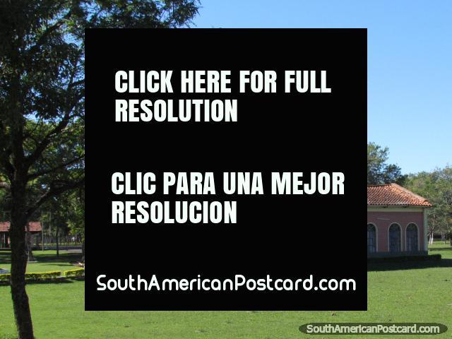 Pink church - Despacho Parroquial Castrense San Jorge in San Juan Bautista. (640x480px). Paraguay, South America.