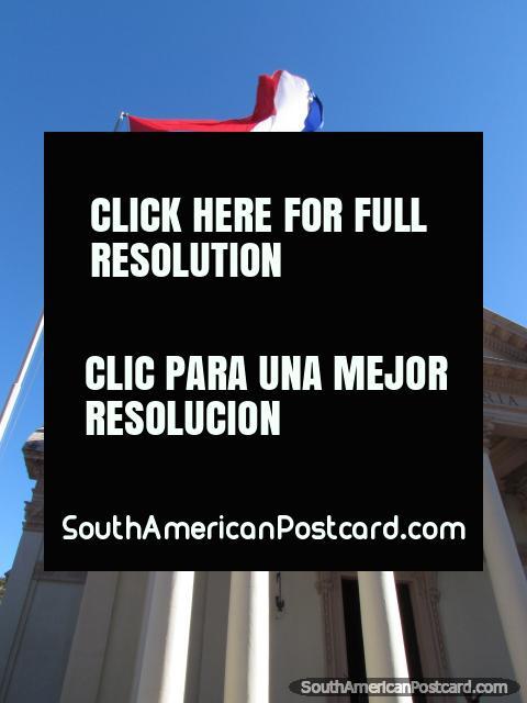 Columns, flag and facade of the Panteon Nacional de los Heroes building, Asuncion. (480x640px). Paraguay, South America.