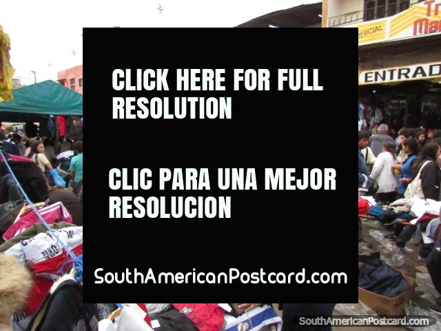 Women shopping for discounted clothes at Guasu Markets in Asuncion. (640x480px). Paraguay, South America.