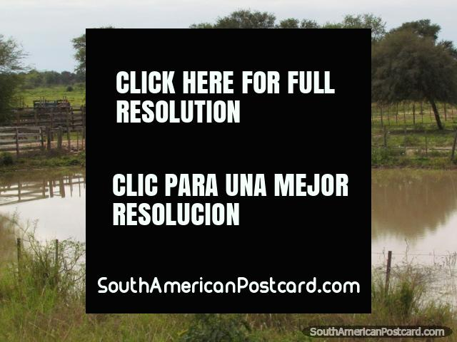 Water tower, pond and wooden fences in the Gran Chaco. (640x480px). Paraguay, South America.