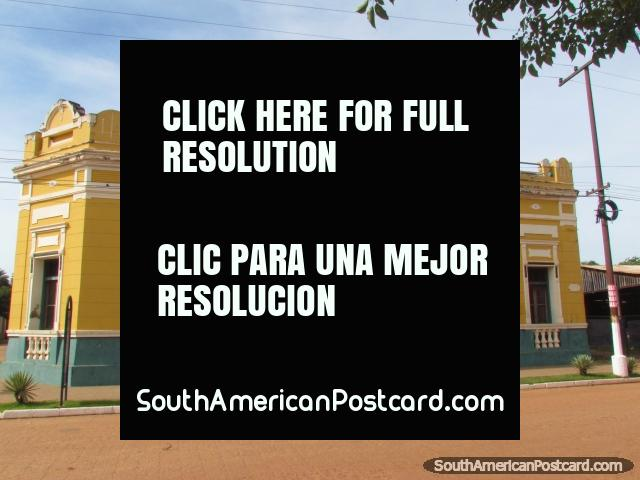 Otano Mansion in Concepcion, yellow historic building. (640x480px). Paraguay, South America.