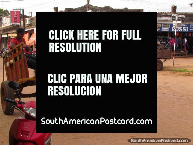 Los caballos y los carros levantan y enfrían esperando su siguiente trabajo, Concepción. (640x480px). Paraguay, Sudamerica.